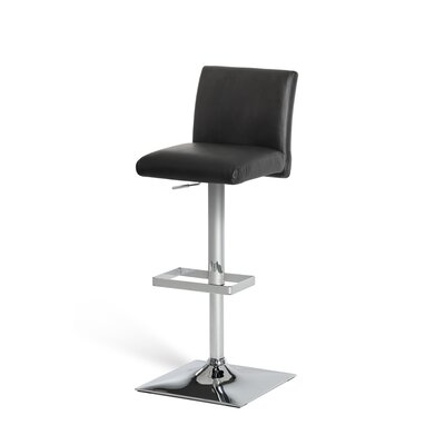 Clower Modern Adjustable Height Swivel Bar Stool Upholstery: Black