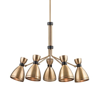 Winnick 5-Light Shaded Chandelier Finish: Aged Brass