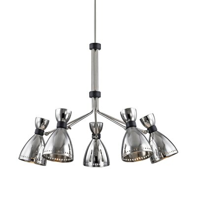 Debi 5-Light Shaded Chandelier Finish: Polished Nickel