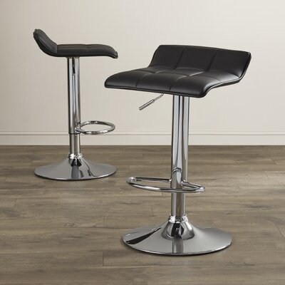 Cross Adjustable Height Swivel Bar Stool Upholstery: Black