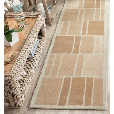 Blocks Hand-Loomed Camel / Ivory Area Rug Rug Size: Runner 23 x 8