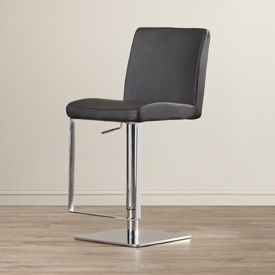 Wesley Adjustable Height Swivel Bar Stool with Cushion Upholstery: Black