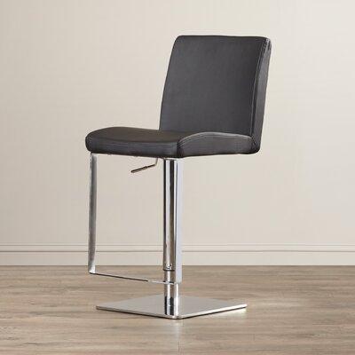 Wesley Adjustable Height Swivel Bar Stool Upholstery: Black