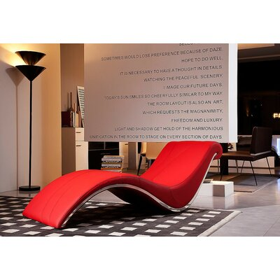 Coalpit Heath Solid Leather Chaise Lounge Upholstery: Red