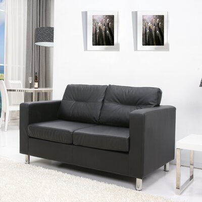 Clarence Loveseat Upholstery: Black