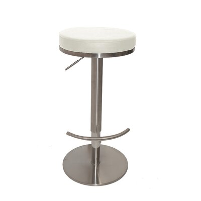 Caudell Adjustable Height Bar Stool Upholstery Color: White