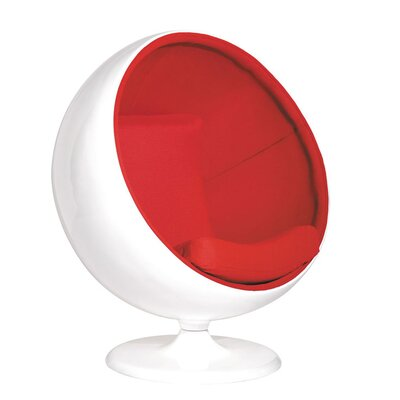 Aarav Swivel Balloon Chair Upholstery: Red