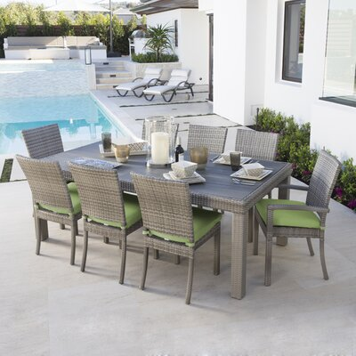 Alfonso 9 Piece Dining Set with Cushion Cushion Color: Gingko Green