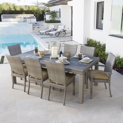 Alfonso 9 Piece Dining Set with Cushion Cushion Color: Maxim Beige
