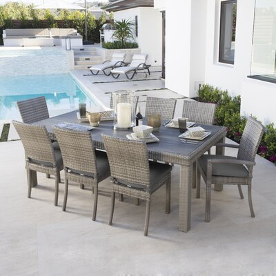 Alfonso 9 Piece Dining Set with Cushion Cushion Color: Charcoal