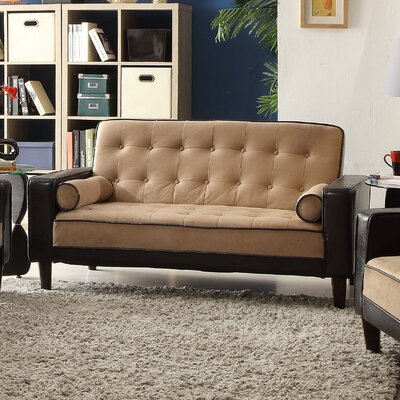 Navi Twill Loveseat Upholstery: Mocha Suede/Drak Brown Faux Leather
