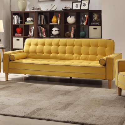 Navi Twill Sleeper Sofa Upholstery: Yellow