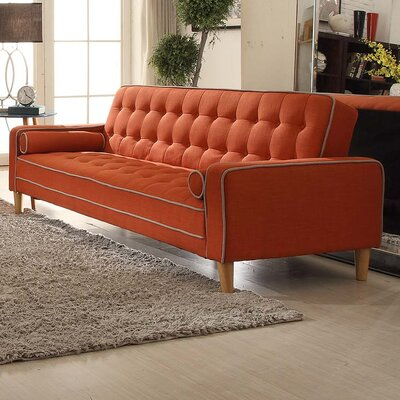 Navi Twill Sleeper Sofa Upholstery: Orange