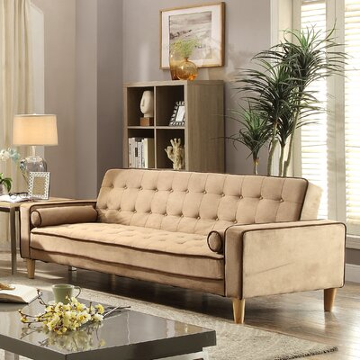 WADL8234 31995937 Wade Logan Chocolate Suede/Dark Brown Faux Leather Sofas