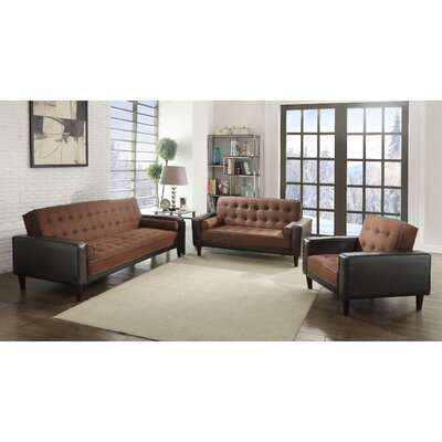 Navi Twill Sleeper Sofa Upholstery: Chocolate Suede/Dark Brown Faux Leather