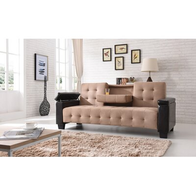 Derek Sleeper Sofa Upholstery: Faux Leather/Suede- Saddle/Dark Brown