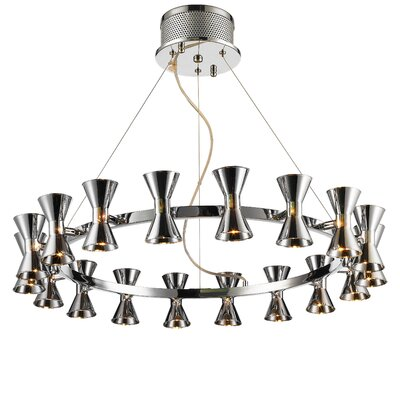 Augusta 18-Light Shaded Chandelier Shade Color: Chrome