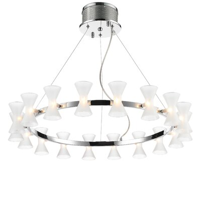 Augusta 18-Light Shaded Chandelier Shade Color: Frosted Glass