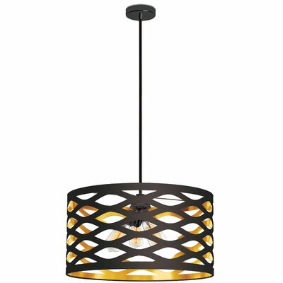 Braylen 4-Light Drum Pendant Finish: Black/Gold