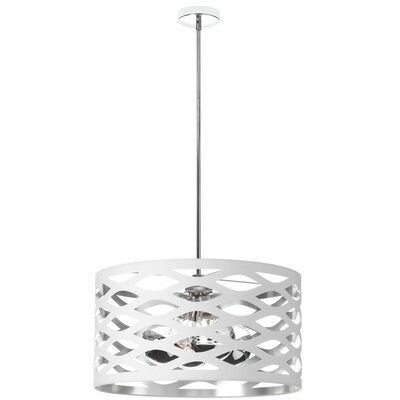 Braylen 4-Light Drum Pendant Finish: White/Silver