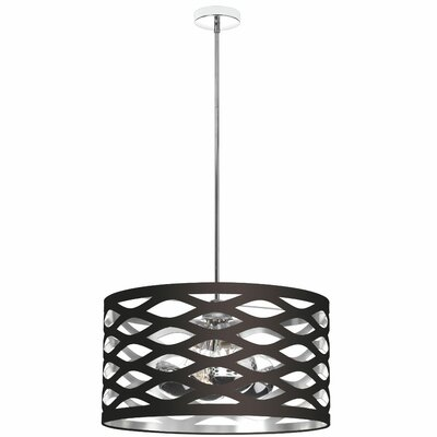 Braylen 4-Light Drum Pendant Finish: Black/Silver