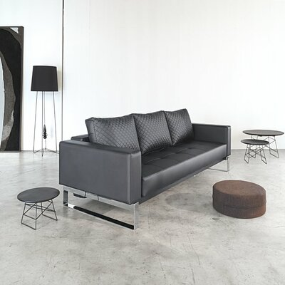Wesley Convertible Sofa Upholstery: Black, Leg Finish: Lacquered Oak