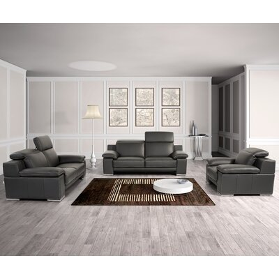 Cohan 3 Piece Leather Living Room Set