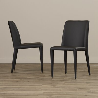 Zackary Side Chair Upholstery: PU - Black