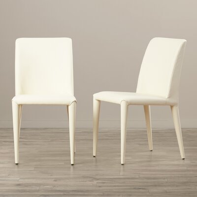 Zackary Side Chair Upholstery: PU - Buttercream