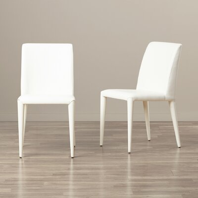 Zackary Side Chair Upholstery: PU - White