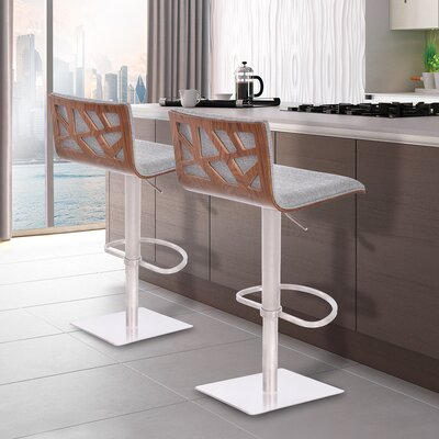 Esmerald Adjustable Height Swivel Bar Stool with Cushion