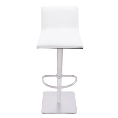 Esmerald Adjustable Height Swivel Bar Stool with Cushion Upholstery: White