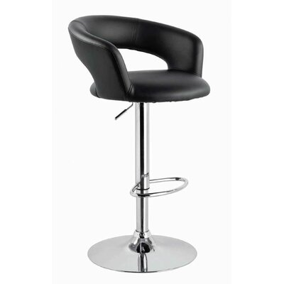Sevastopol Adjustable Height Swivel Bar Stool Upholstery: Black
