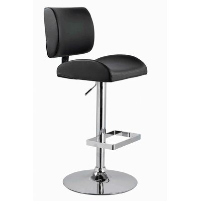 Ceto Adjustable Height Swivel Bar Stool Upholstery: Dark Brown