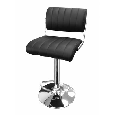 Huya Adjustable Height Swivel Bar Stool Upholstery: Black