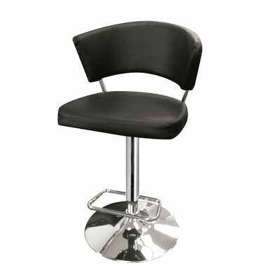 Leakey Adjustable Height Swivel Bar Stool Upholstery: Dark Brown