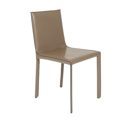 Colten Genuine Leather Upholstered Dining Chair (Set of 2) Upholstery: Taupe