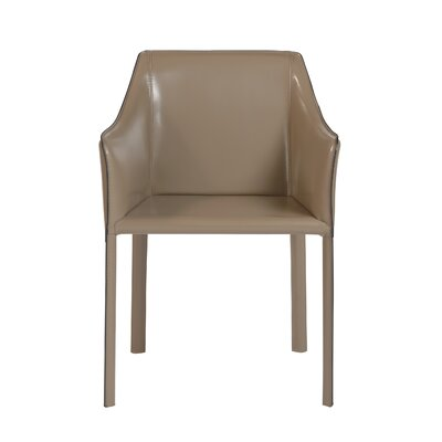 Colten Genuine Leather Upholstered Dining Chair Upholstery: Taupe