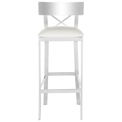 Burnside Bar Stool Upholstery Color: White