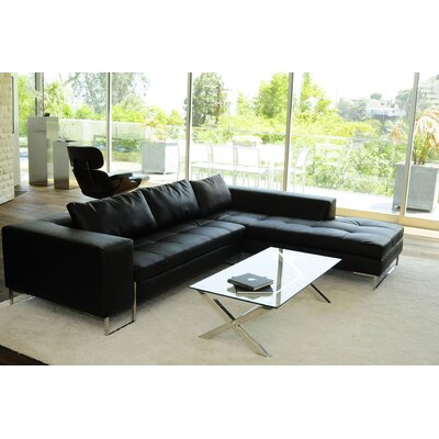 Arya Sectional Orientation: Right Hand Facing, Upholstery: Black Shiny