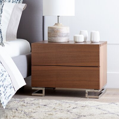 Domingo 2 Drawer Nightstand Finish: Walnut