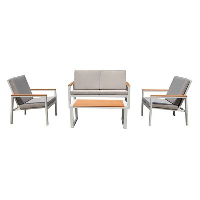 Chamlee 4 Piece Deep Seating Group with Cushion Fabric: Taupe
