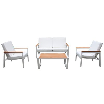 Chamlee 4 Piece Deep Seating Group with Cushion Fabric: White