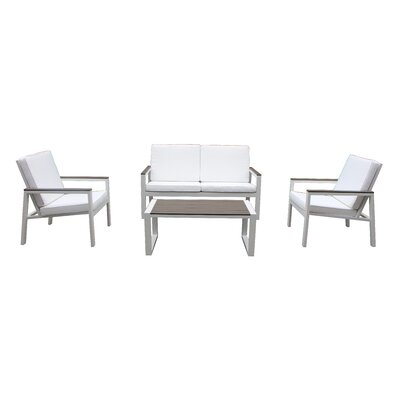 Quincy 4 Piece Deep Seating Group with Cushion Fabric: Gray