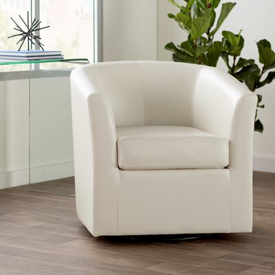 Wilmore Faux Leather Swivel Barrel Chair Upholstery: Ivory