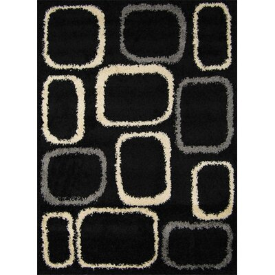 Fabian Black / Ivory Contemporary Rug Rug Size: 66 x 98