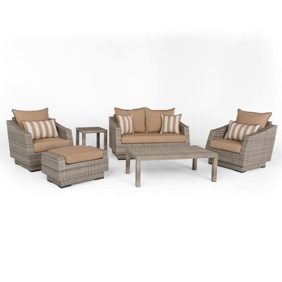 Alfonso Love and Club 6 Piece Deep Seating Group with Cushion Fabric: Maxim Beige