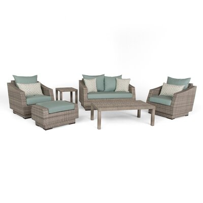 Alfonso Love and Club 6 Piece Deep Seating Group with Cushion Fabric: Spa Blue