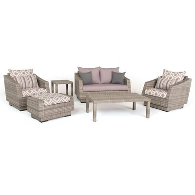 Alfonso Love and Club 6 Piece Deep Seating Group with Cushion Fabric: Wisteria Lavender