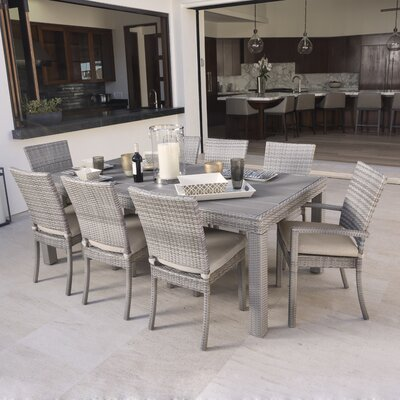 Alfonso 9 Piece Dining Set with Cushion Cushion Color: Slate Grey